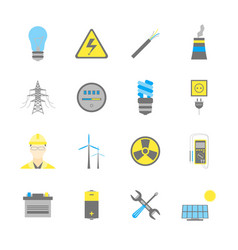 Cartoon electricity power generation icons color vector