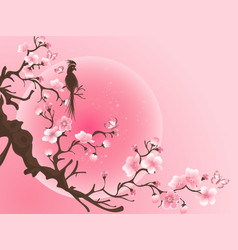 Cherry blossom tree with bird japanese art vector