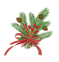 christmas pine branches with red ribbon and pine vector image