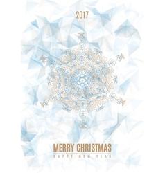 Christmas Poster Big Snowflake on Ice Background vector image vector image
