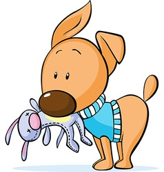 Cute dressed dog hold toy in mouth isolated on vector