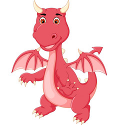 Cute little dragon standing with smile and waving vector