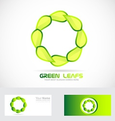 Eco leafs circle logo drawing vector
