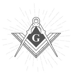 Freemason symbol - illuminati logo with compasses vector