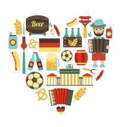 Germany travel heart set vector image