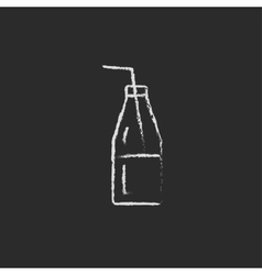 Glass bottle with drinking straw icon drawn in vector image vector image