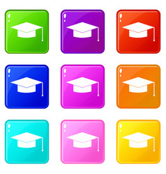 graduation cap icons 9 set vector image