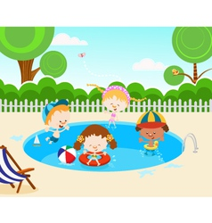 Kids In Swimming Pool vector image vector image