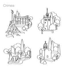 landmarks of crimea set of icons drawing vector image