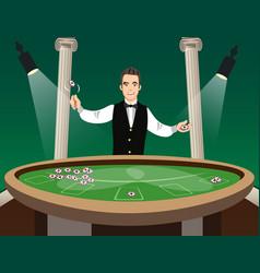 Man casino croupier character vector