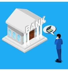 Man thinking about bank credit isometric people vector