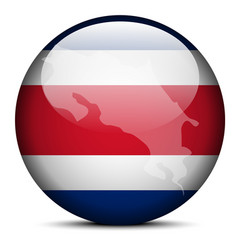 Map on flag button of republic of costa rica vector