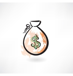 money bag grunge icon vector image