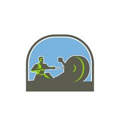 Rower rowing machine half circle retro vector