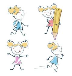 schoolgirl cartoon vector image