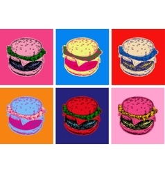 Set Burger Pop Art Style vector image