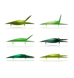 Set of funny green crocodiles for your design vector image vector image