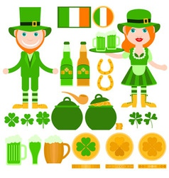 Set of Saint Patricks Day related elements vector image