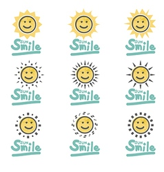 Set of suns smiles doodle cute type font vector