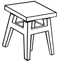 Silhouette old wooden stool vector image