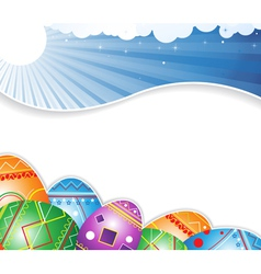 Sky and Easter eggs vector image
