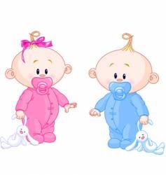 twin babies vector image
