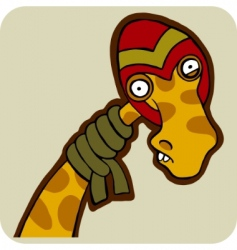vector cartoon of winter giraffe vector image vector image