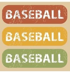 Vintage baseball stamp set vector