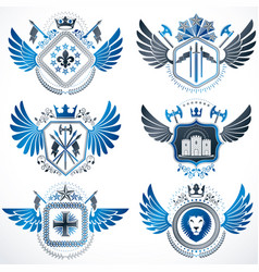 Vintage heraldry design templates emblems vector