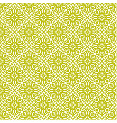 Yellow green damask seamless pattern backdrop vector