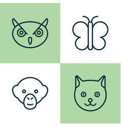 Zoo icons set collection of moth baboon kitten vector