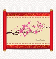 Chinese new year with blossom traditional chinese vector