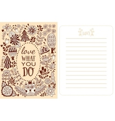 Love what you do floral greeting card vector image