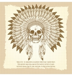 Vintage skull in feathers headdress poster vector