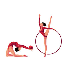 Two rhythmic gymnasts in leotards exercising with vector