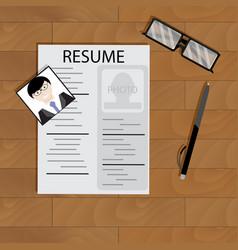 Create resume desktop top view vector