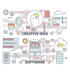 Thin line flat creative idea and software vector