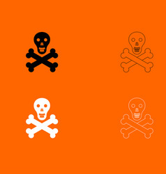 Skull and bones black and white set icon vector