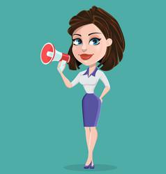 Beautiful business woman with loudspeaker vector