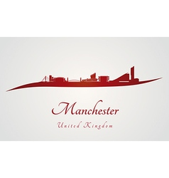 Manchester skyline in red vector