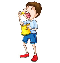 A simple sketch of a boy eating chips vector image