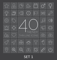 40 Trendy Thin Line Icons for Web and Mobile Set 1 vector image
