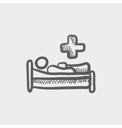 Medical bed with patient sketch icon vector