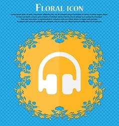 Headphones earphones floral flat design on a blue vector