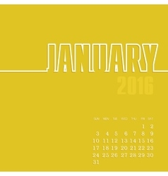 January 2016 year calendar vector
