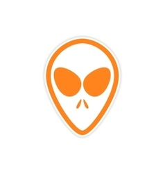 Sticker alien with big eyes on a white background vector