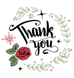 Thank you floral wreath calligraphy vector