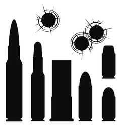 Bullet cartridge case and bullethole with cracks vector