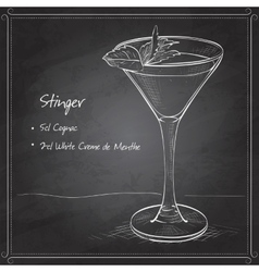 Cocktail alcoholic stinger on black board vector