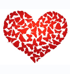 Heart made of butterflies isolated eps8 vector